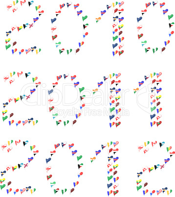 Year 2010 2011 2011 made from world country flag in heart