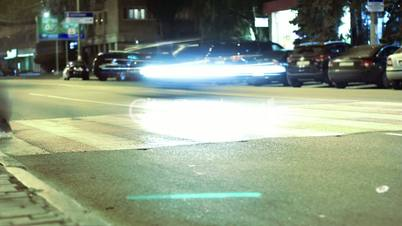crossing on the night streets. timelapse.