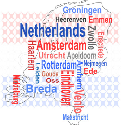 holland map and words cloud with larger cities