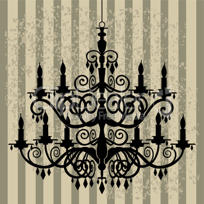 Vintage chandelier on antique background