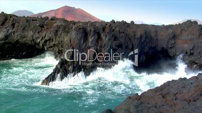 los hervideros vulcan lava cave wave close