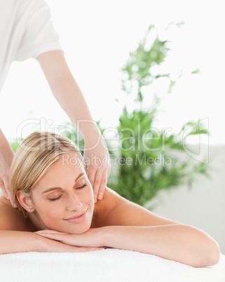 blonde woman relaxing