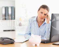 Depressed working woman posing