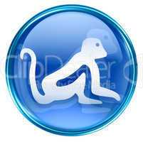 Monkey Zodiac icon blue, isolated on white background.