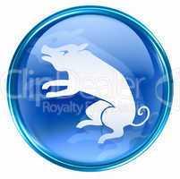 Pig Zodiac icon blue, isolated on white background.