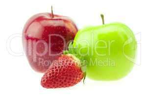 apples and strawberries isolated on white