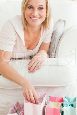 Close up of a woman with shopping bags