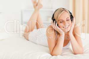 Woman listening to music with her eyes closed
