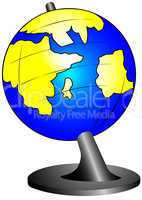 The globe on a support
