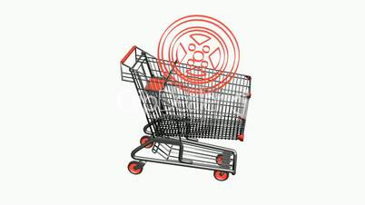 Shopping Cart and Tires.retail,buy,cart,shop,basket,sale,discount,supermarket,