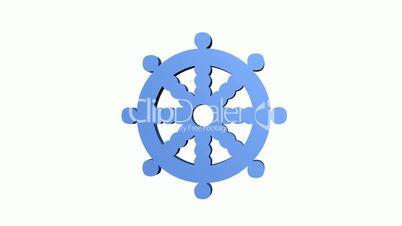 Rotation of Rudder.wheel,nautical,rudder,helm,ship,navigation,cruise,yacht,