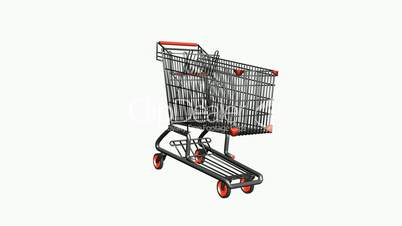 Rotation of the Shopping Cart.retail,buy,isolated,cart,design,shop,basket,sale,customer,