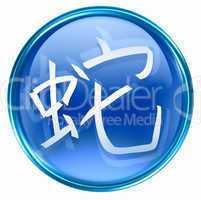 Snake Zodiac icon blue, isolated on white background.