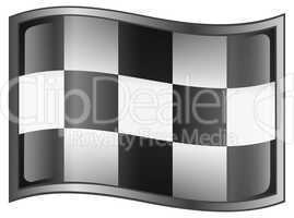Checkered flag icon, isolated on white background