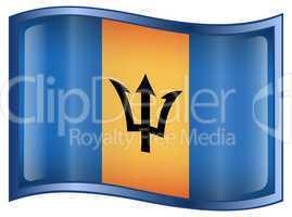 Barbados Flag Icon, isolated on white background.