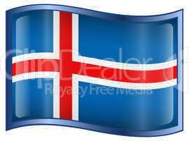 Iceland Flag icon, isolated on white background.