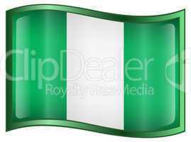 Nigeria Flag Icon, isolated on white background.