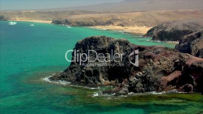 famous lanzarote papagayo beach rocks close