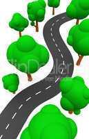 Die S-Kurve mit Bäumen