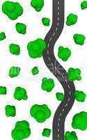 Die S-Kurve im Wald - Draufsicht 02