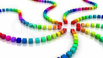 3D Würfel - Regenbogen Wirbel 04