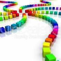 Bunte 3D Würfel Spirale 02