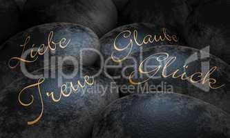 Schwarze Steine - Liebe, Glaube, Treue und Glück