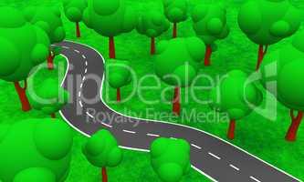 Illustration - Die Straße durch den Wald