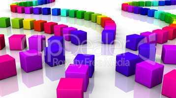 Farbenfrohe Würfel vor weissem Hintergrund