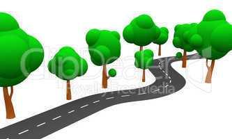 3D Straße und Bäume vor weissem Hintergrund