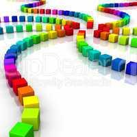 Würfel Farbspiel auf weissem Boden