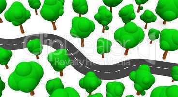 Die S-Kurve mit Bäumen in Draufsicht