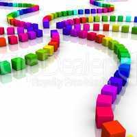 Bunte Würfel Spirale in 3D - 05