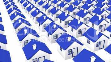 Häuser in Massenproduktion - blau weiß