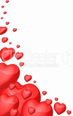 Rote Herzen in Ecke - freigestellt