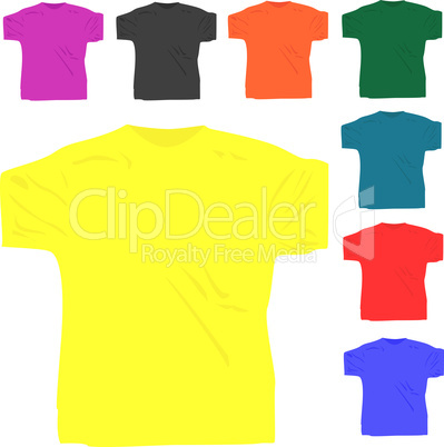 set of men's T-shirt isolated on white