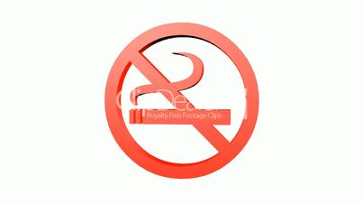 Rotation of 3D No Smoking.cigarette,forbidden,symbol,sign,stop,warning,hazard,health,icon,tobacco,addiction,