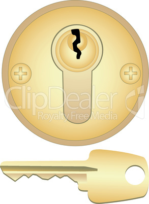 Gold keyhole and key