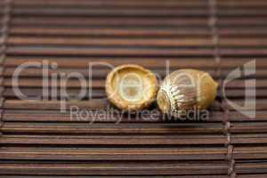 Acorn on a bamboo mat