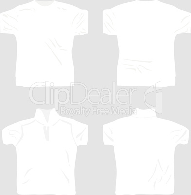 T-shirt design template set including male and female, front and back view