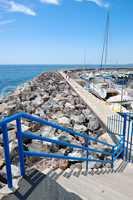 Sail yachts parking and  Atlantic Ocean, Tenerife island, Spain