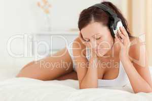 Woman listening to music with closed eyes