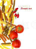 Italian Pasta with tomatoes,chilly on a white background (with s