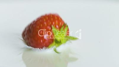 Erdbeere fällt in Flüssigkeit