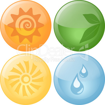 Beautiful Vector Nature Glassy Icons