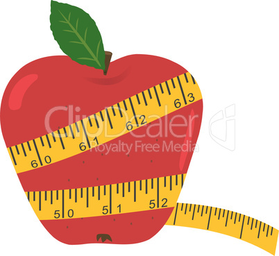 Vector apple with measuring tape - Diet concept