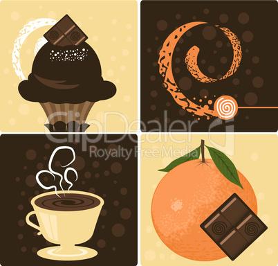 Vector Coffee with Delicious Orange Chocolate Dessert