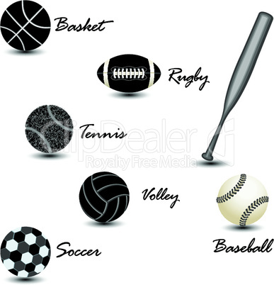 sport balls against white