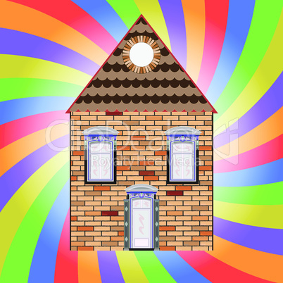 house and colored background