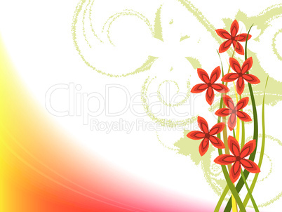 design with grass and flowers